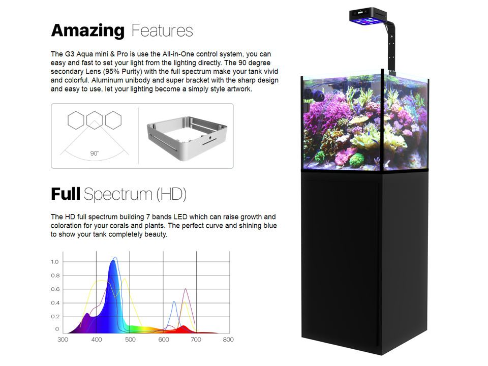 Aqua Mini Gen3 Nano Reef Led Light Oceanbox Designs Llc